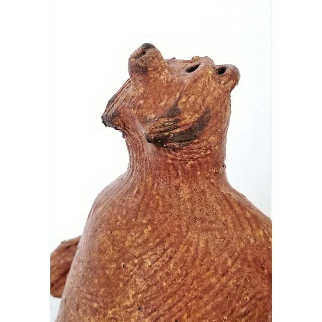 Vintage 1970s Danish Modern Studio Art Pottery Bear Sculpture- Signed-Mid Century Organic Modern MCM Palm Beach Boho Chic Earthenware For Sale In Miami - Image 6 of 13