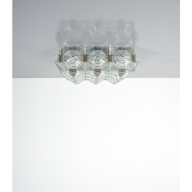 Gold 1 of 7 Kamenicky Senov Bohemian Glass Flush Mount Ceiling Lamp, Czechia For Sale - Image 8 of 13