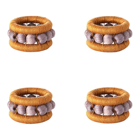 Berry Napkin Rings Ochre & Lilac - Set of 4 For Sale