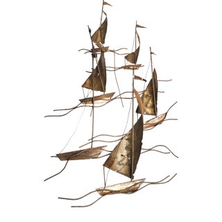 1950s Brutalist Stylized Sailboats Metal Wall-Mounted Sculpture For Sale