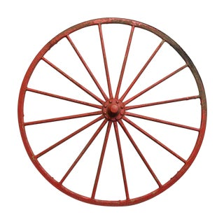 Red Metal & Wood Wheel