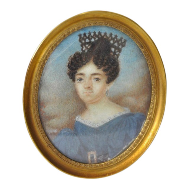 Mid 19th Century English School Miniature Portrait of a Lady in a Blue Dress For Sale