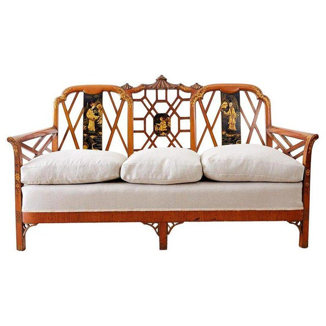 English Chinoiserie Chippendale Style Pagoda Top Settee For Sale - Image 13 of 13