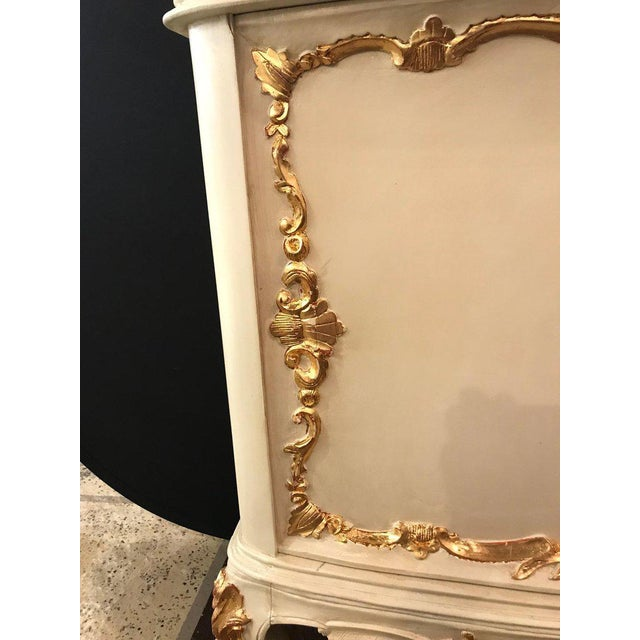 Parcel-Gilt and Paint Decorated Two-Drawer and Two-Door Louis XV Style Cabinet For Sale - Image 9 of 13