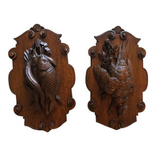 Vintage 1970s Black Forest Carved Wood Animal Trophies With Oak From Germany - a Pair For Sale