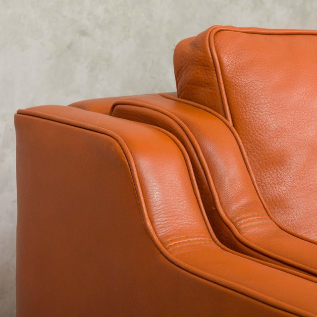 1970s Vintage Stouby Cognac Leather 3 Seat Sofa For Sale - Image 9 of 12