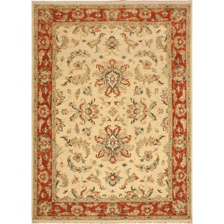 Kafkaz Sun-Faded Chad Ivory/Rust Hand-Knotted Rug - 4'9 X 6'4