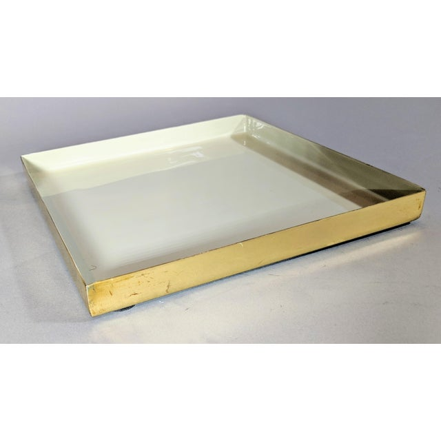 Brass and Enamel Blue, Teal & White Trays - Set of 3 For Sale - Image 10 of 13