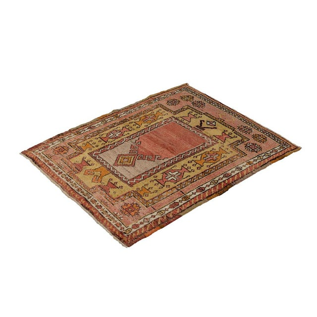 Mid 20th Century Vintage Red Turkish Area Rug 3'x3' For Sale - Image 5 of 5