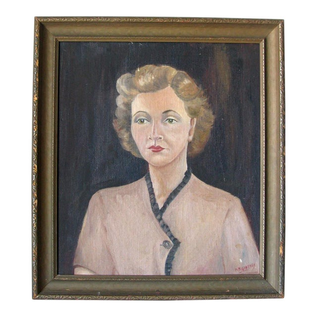 1940s Woman Oil on Board Painting - Image 1 of 5