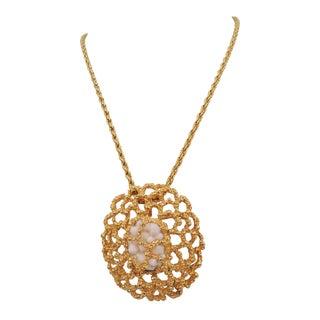 1960s Panetta Faux-Coral Detachable Brooch / Pendant Necklace For Sale