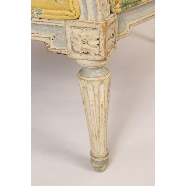 Antique Louis XVI Style Painted Bergere - Image 5 of 11