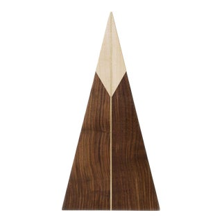 Triangle Walnut and Maple with Brass Cheeseboard For Sale