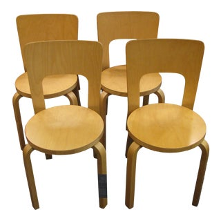 Alvar Aalto Model 66 Bent Wood Modern Chairs by Artek - Set of 4 For Sale