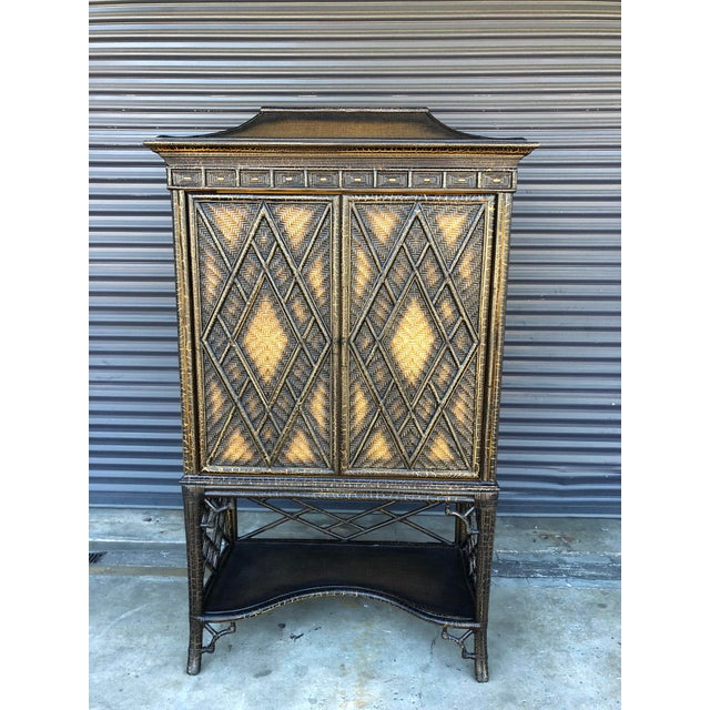 Chinoiserie Rattan Pagoda Style Tv Cabinet Armoire For Sale - Image 13 of 13