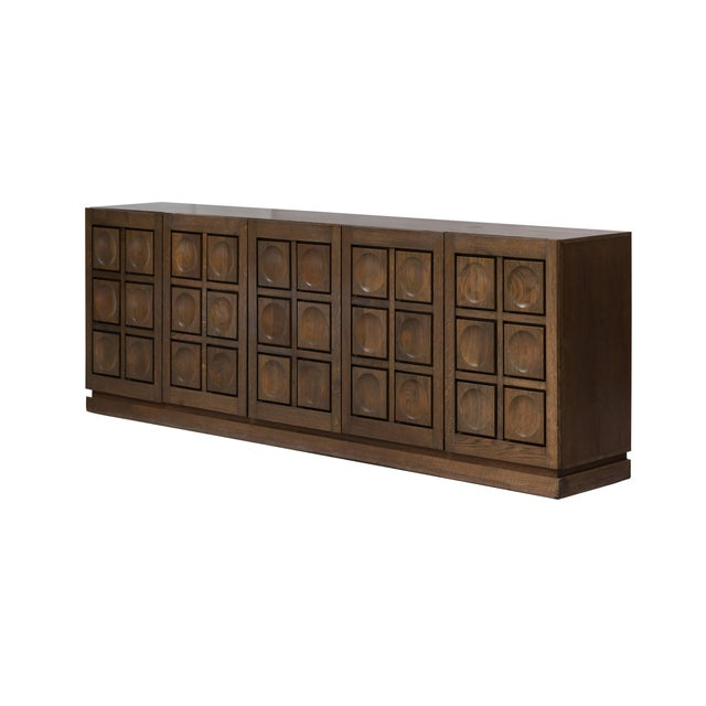 Brutalist Stained Oak Credenza, 1970s For Sale - Image 9 of 11