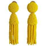 Image of Oscar De La Renta Yellow Short Beaded Tassel Earrings For Sale