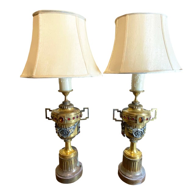 Gilt Metal Urns With Jewels and Swags Table Lamps - a Pair For Sale