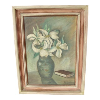 Vintage Oil on Board Still Life of Lilies Painting