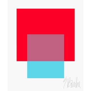 """The Interaction of Red and Turquoise Fine Art Print 35"""" X 45"""" by Liz Roache For Sale"""