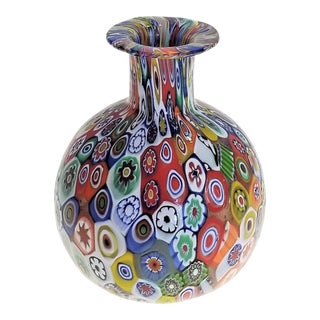 Small Vintage Millefiori Murano Glass Vase-Mid Century Modern Italy Palm Beach Boho Chic Bohemian Hollywood Regency MCM For Sale