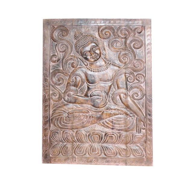 1990s Vintage Indian Sitting Buddha Wall Panel For Sale - Image 6 of 6