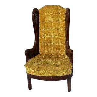 1960s Mid Century Modern Tufted Mustard Velvet Cane Wingback Chair For Sale