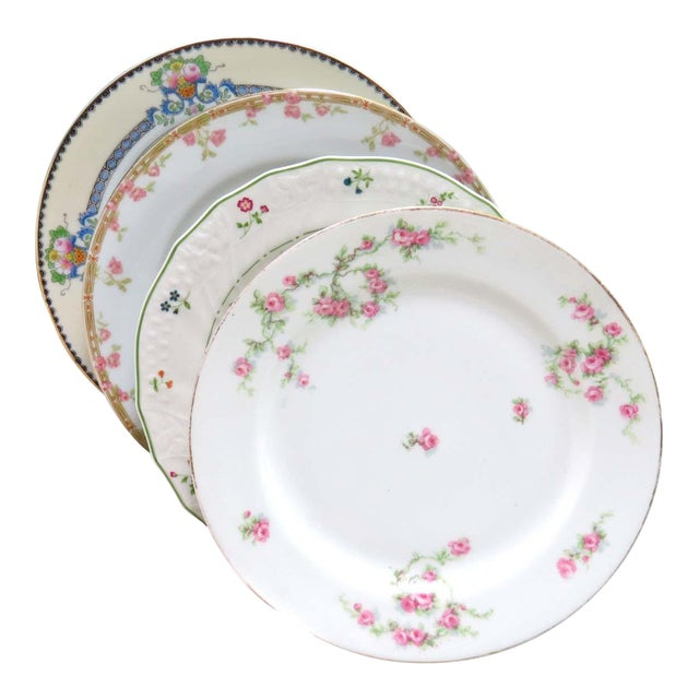 Vintage Mismatched Fine China Luncheon Plates - Set of 4 For Sale