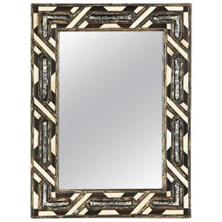 Moroccan White Bone Wall or Console Mirror in Hollywood Regency Style For Sale