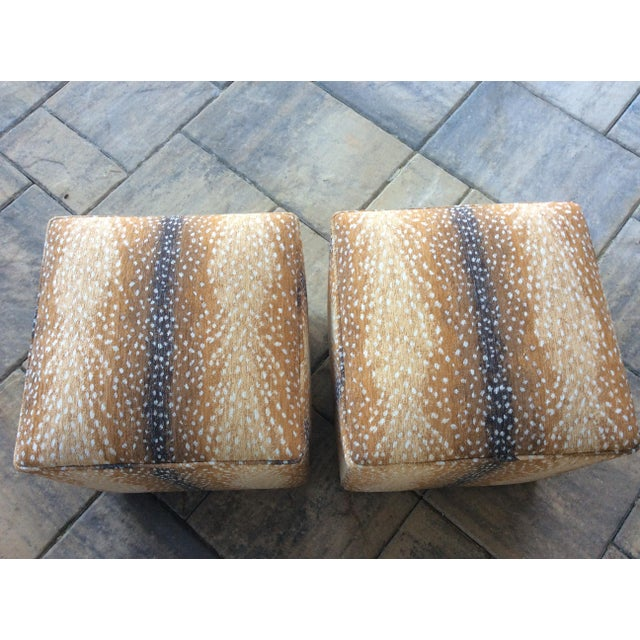 Boho Chic Modern Lee Antelope Chenille Fabric Square Ottomans- a Pair For Sale - Image 3 of 4