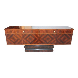 1940s French Art Deco Modern Exotic Macassar Ebony Sideboard For Sale
