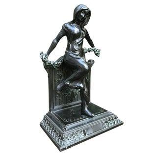 Art Nouveau Bronze Female Nude Sculpture For Sale