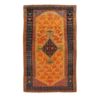 19th Century Traditional Hamadan Yellow and Red Wool Persian Rug For Sale