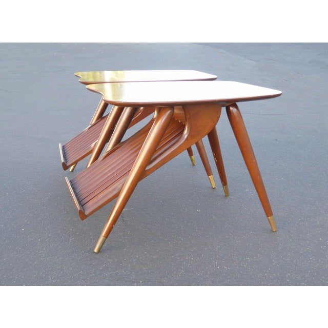 Danish Modern Magazine Rack Side Tables - A Pair - Image 5 of 11