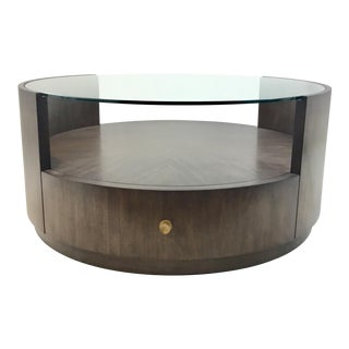 Drexel Heritage Modern Walnut Finished Wood Johns Cocktail Table For Sale
