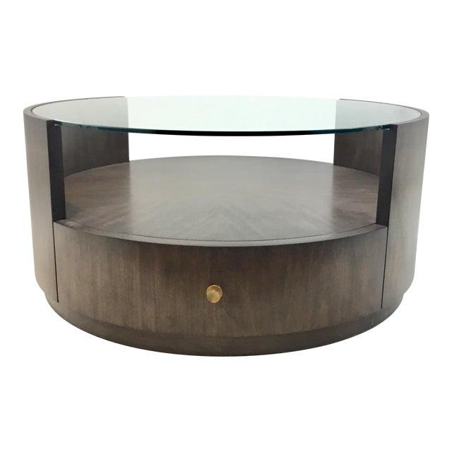 Drexel Heritage Modern Walnut Finished Wood Johns Cocktail Table For Sale