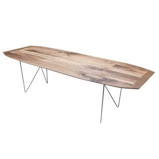"Modern Minimalist ""The Surf"" Walnut With Geometric Steel Base Dining or Coffee Table For Sale"