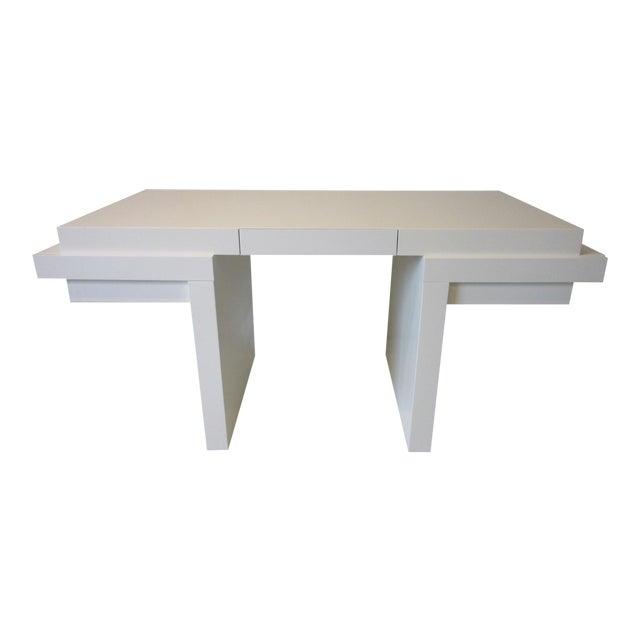 70's Cream Lacquer Sculptural Desk For Sale