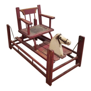 19th Century American Carved Painted Children's Rocking Chair For Sale