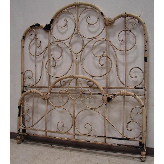 Distressed Wrought Iron Queen Bed | Chairish