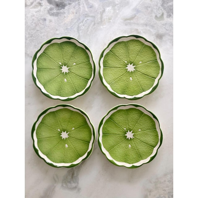 Mid 20th Century Lenwile Ardalt Artware Lime Citrus Dessert Plates - Set of 4 For Sale In Seattle - Image 6 of 7