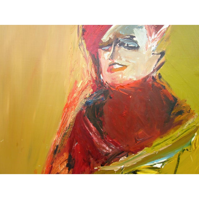 Red 1970s Vintage Suzanne Peters Expressionist Style Portrait Oil on Board Painting For Sale - Image 8 of 11