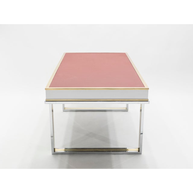 Unique French Desk White Lacquer Brass Red Leather by Atelier La Boetie, 1974 For Sale - Image 9 of 13