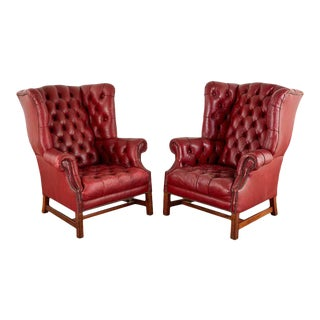 Pair of English Georgian Tufted Red Leather Wingback Chairs For Sale