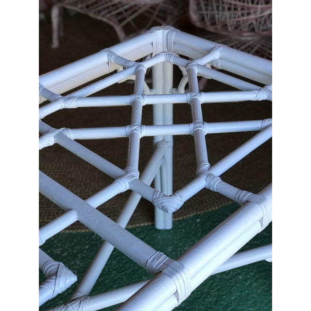 White Lexington Fretwork Chinese Chippendale Rattan Base For Sale - Image 8 of 11