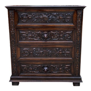Antique French Renaissance Revival Oak Chest of Drawers For Sale