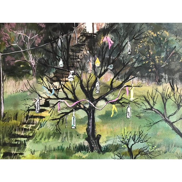 Alice Gizewski 20th century landscape of bottle tree in gouache and watercolor. Signed lower right corner.