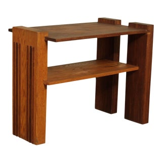 Studio Crafted Mid Century Walnut Oak and Walnut 2 Tier Side Table For Sale
