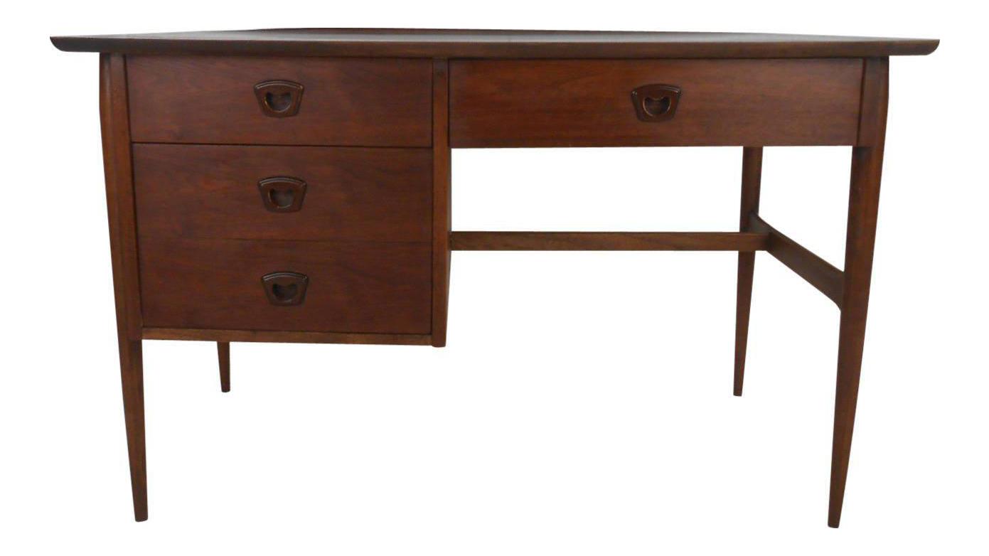 Vintage Modern Walnut Desk By Bassett Furniture