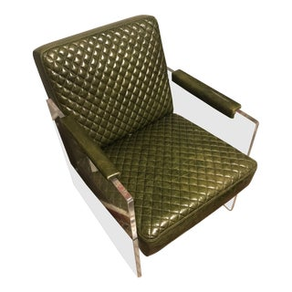 Modern Olive Green Leather and Acrylic Chairs For Sale